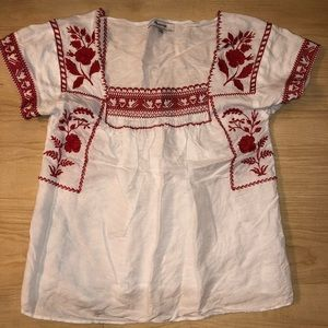 Madewell white embroidered top *size xxsmall*